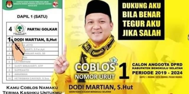 Dodi Martian Caleg DPRD Kabupaten Bengkulu Selatan Dapil 1 No urut 1