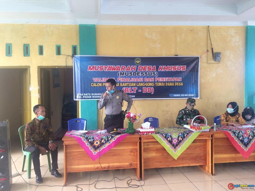 Sampaikan Pesan Kapolres, Polsek Kota Manna Melaksanakan Himbauan NEW Normal Di Desa Batu Kuning