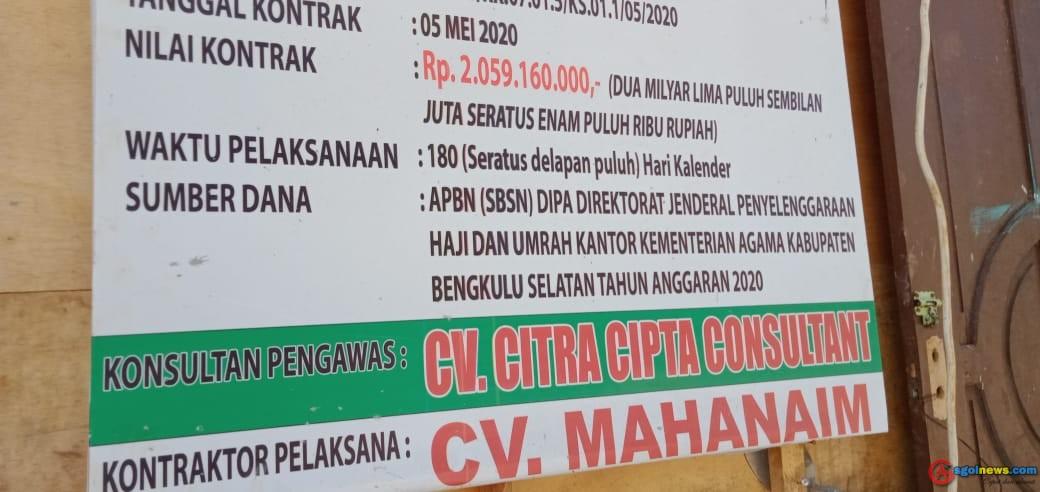 """Tidak Memperhatikan K3, Pembangunan Gedung Pelayanan Haji di Bengkulu Selatan """"Dipertanyakan"""""""