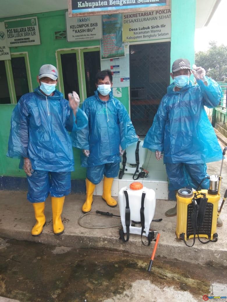 Desa Lubuk Sirih Ilir Lakukan Penyemprotan Disinfektan di Tahun 2021